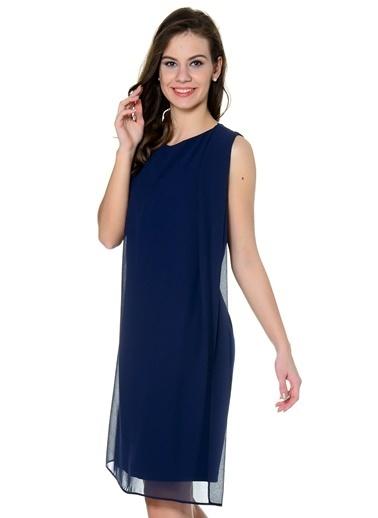 Asymmetry Tül Detaylı Midi Elbise Lacivert